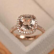 Natural Diamond Pink Morganite Halo Women Engagement Ring 18K 14K 10K Rose Gold