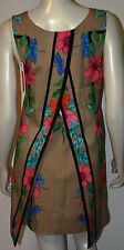 TRACY REESE Tan Pink Hibiscus Tunic Shift Dress NWT M 6 8 Fly Back