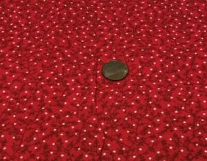 """Calico Itty Bitty Vines Leaves White Dots ALLOVER Red*100% Cotton Remnant*22""""x8"""""""