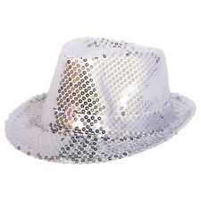DELUXE SILVER SEQUIN TRILBY 70S DISCO XMAS