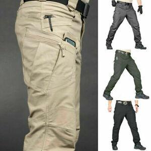 Mens Waterproof Tactical Work Trousers Cargo Pants Combat Fishing Outdoor Hiking