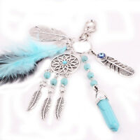 Newly Silver Turquoise Feather Dream Catcher Keychain Boho Jewelry Keyring 1PC
