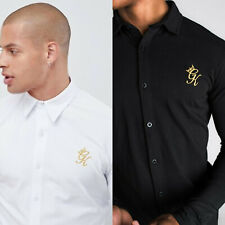 Gym King Mens Long Sleeve Jersey Fitted Designer Collared Fashion Smart Shirt