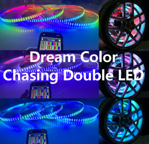 """FIA 15.5"""" Double Row Wheel Lights Dream Color Chasing Flow Strips Bluetooth Gift"""