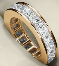 Gold Eternity Band Sz 8 1/2 Channel 5.78 ct Princess cut Diamond Ring 18k Yellow