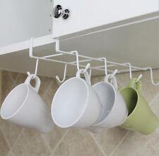 White Under Cabinet Shelf Cups Rack Metal Holder Hanging Organizer Kitchen LJ