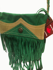 Véritable Sac indien à franges Western Country Cuir vert made in CANADA