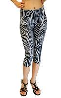 Vivian's Fashions Capri Leggings - Zebra Tight (Junior and Junior Plus Sizes)