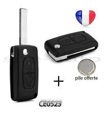 plip coque clé Peugeot 308 SW 407 807 Partner Expert 2 btons CE0523 rainurée