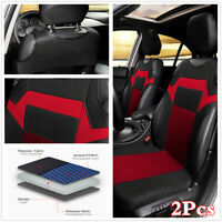 2x Black/Red Front Seats Covers Protectors For Car Cushion Styling Accessories