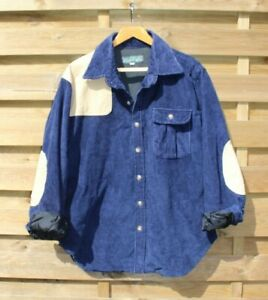 RETRO Mens Vintage Shoulder & Elbow Patch Jumbo Corduroy Hipster Shirt/Jacket L