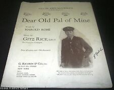 1918 SHEET MUSIC Dear Old Pal of Mine Canada WWI McCormack/ Rice Piano Vocal