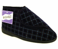 MENS NAVY WIDE FIT ORTHOPEDIC WASHABLE STRAP BOOTIE SLIPPERS,SIZES 7-12
