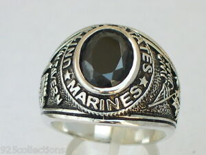 Marines United Stated Military 925 Sterling Silver Black Jet Men Ring Size 7-14