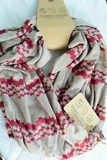 NWT Threads 4 Thought - Burgundy GRAY faux knit polyester INFINITY scarf