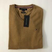 NWT Tommy Hilfiger Men's Solid Pima Cotton Cashmere Blend V-Neck Sweater XS