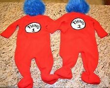 NWT POTTERY BARN KIDS DR. SEUSS'S THING 1 & THING 2 COSTUMES 6-12 MONTHS TWINS