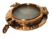 VINTAGE Marine BRASS PORT HOLE / Window -  17.5 Inches Bottom - 100% ORIGINAL