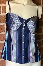 NWT Tommy Hilfiger Pure Silk $88 Sleeveless Bustier Tank Cami Blue Striped 12