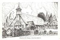 Art Postcard Church of St Thomas Charlton Andover Hampshire Don Vincent AS1a