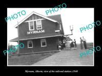 OLD LARGE HISTORIC PHOTO OF MYRNAM ALBERTA, THE RAILROAD DEPOT STATION c1940
