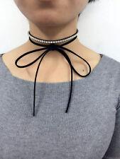 Wrap Tie Ribbon Layer Choker Black Rhinestone Suede Necklace Velvet Chain