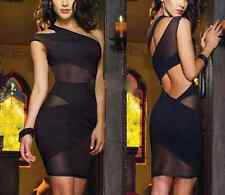 Sexy Black Mesh Open Back One Shoulder Cocktail Party Rock Club Mini Dress 8-10