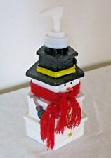 Snowman Soap Dispenser or Lotion Pump Made of Gift Boxes & Red Scarf Resin Wood