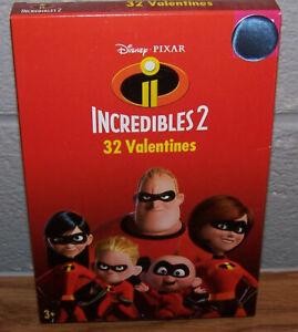 Valentines Day Cards (Box of 32) Disney Pixar Incredibles 2