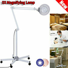 5x LED Magnifier Lamp Glass Rolling Floor Stand Facial Magnifying Beauty Light