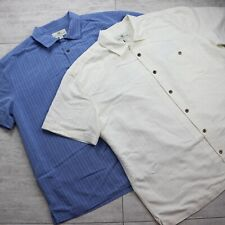 Men's Island Shores Lot of 2 Button Up Short Sleeve Shirt - Size XXL -Blue Ivory