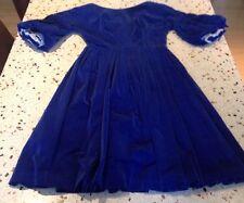 Gorgeous Genuine Vintage Blue Velvet Party Dress Frock S. 8 Shakespeare
