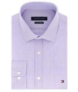 Tommy Hilfiger Slim Fit Check Long Sleeve Dress Shirt Men's Size Medium Lilac