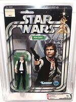 AFA 85 Kenner 1977 Star Wars 12-back-C Han Solo Small Head (85-85-85) Clear NM+