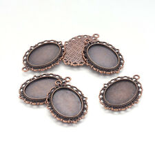 10pcs Zinc Alloy Pendant Settings Oval Red Copper for Cabochon & Rhinestone