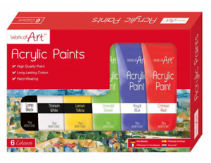 WORK OF ART PACK OF 6 ASSORTED HIGH QUALITY ACRYLIC PAINT SET EACH TUBE 75ML