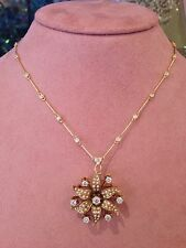 Antiguo Flor Semilla Perla & diamond pin / Collar con colgante 14k & 18CT -