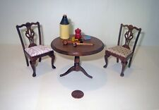 Artist Signed MINIATURE DOLLHOUSE Lot CHIPPENDALE TABLE FURNITURE & ACCESSORIES