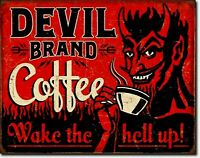 Devil Brand Coffee Wake Hell Up Retro Funny Metal Ad Sign Kitchen Wall Art Decor