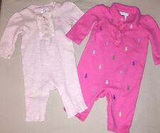 USED RALPH LAUREN 3 MO GIRLS LOT PINK CREAM PONY LOGOS ONE PIECE ROMPERS