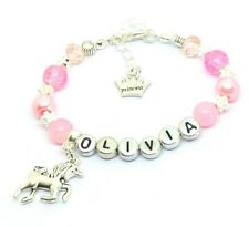 Personalised Princess Light Pink girls Unicorn Crystal Bracelet party Girl gift