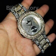 Men's Luxury Designer Style Bling Two Tone Simulated Diamond Bracelet Watch