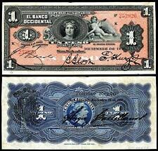 NICE CRISP UNC. 1910 1 PESO EL SALVADOR  BANKNOTE  COPY!
