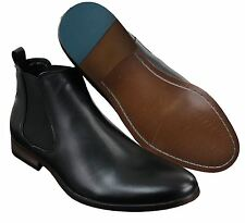 Mens Italian Leather Slip On Ankle Boots Smart Casual Desert Chelsea Dealer Brow