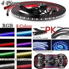 4x RGB LED Under Car Tube Underglow Neon Strip Light Phone APP Control 8Colors