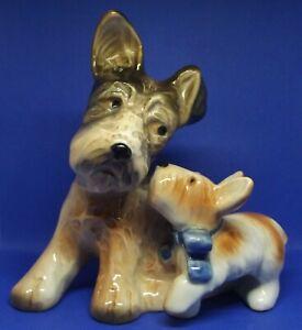 Schnauzer Dog & Puppy Porcelain Figurine 1950s Nippon Japan Yoko Boeki