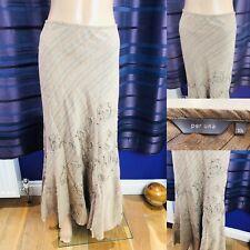 PER UNA Maxi Skirt Size 10 Long Brown Sequins & Embroidery Linen & Cotton M&S
