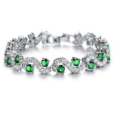 18K WHITE GOLD PLATED &  EMERALD GREEN & CLEAR CUBIC ZIRCONIA TENNIS  BRACELET