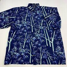 Bellini Sport Button Up Shirt Mens 2X Blue Green Short Sleeve Bamboo Print