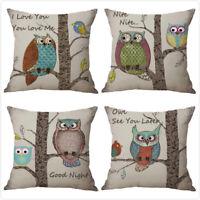 """18x18"""" Cartoon Retro Owl Cotton Linen Pillow Case Home Decor Sofa Cushion Cover"""